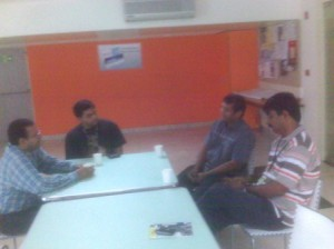 Venkatesh, Tathagat, Bhaskar and Venkat engrossed in a discussion